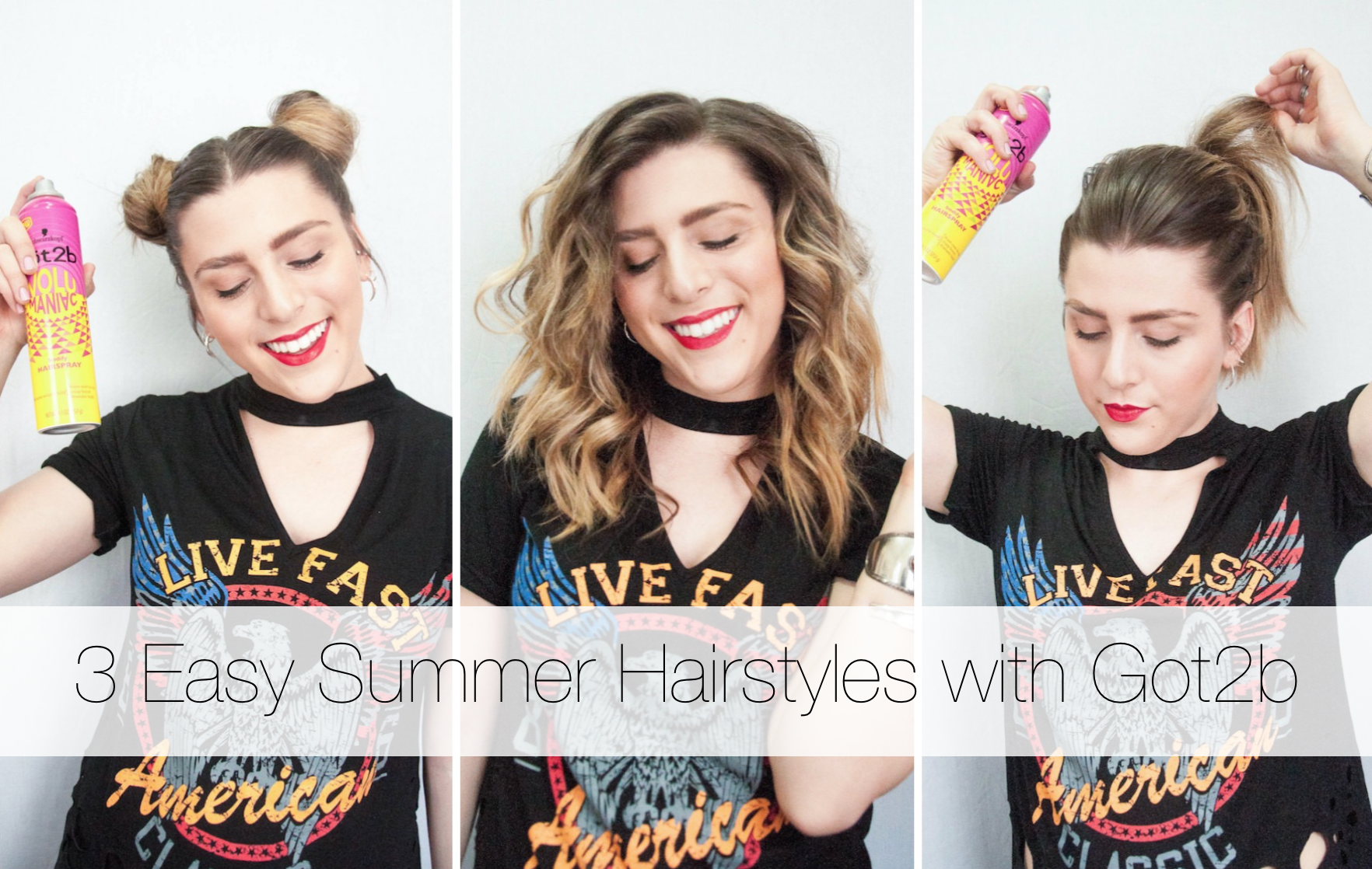 3 Easy Summer Hairstyles With Got2b Volumaniac Simply Audree Kate